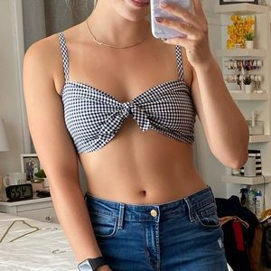 Gingham Bow Crop Top